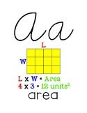 Custom Border 5th Grade Math Alphabet Cursive