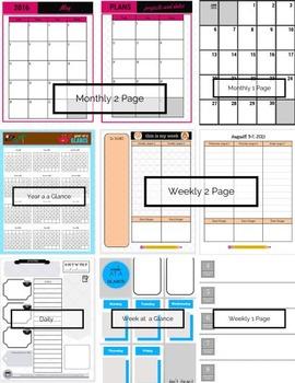 the AVA Custom Teacher 2016-2017 Planner in Spiral or DISC, Free Custom Sizes