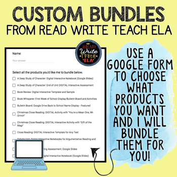 Custom Bundle Request: Google Form to Choose Products to Suit Your Needs!