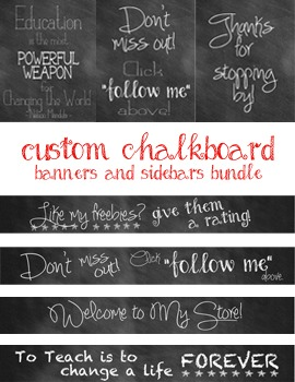 Custom Chalkboard Banner and Sideboard Bundle for TPT Store