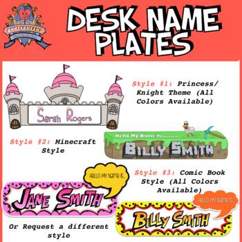 Custom Class Desk Name Tags Minecraft Princess Comic Book by AppleCheeks