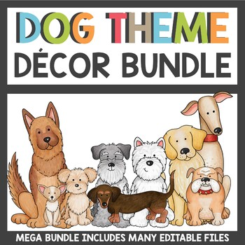 Custom Classroom Decor Dog Theme Bundle