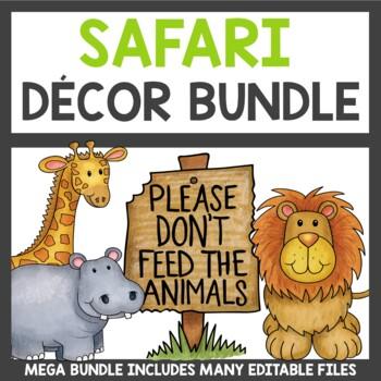 Classroom Decor Safari Theme Bundle