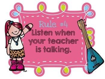 Editable Classroom Rules {Rockstar Edition}