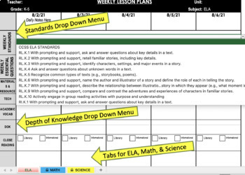 Custom Common Core Weekly Lesson Plan Template (Portrait)