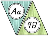 Custom D'Nealian Print Teal and Green Chevron Alphabet Banner