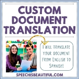 Custom Document Translation from English to Spanish