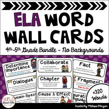 Custom ELA Word Wall 4th-5th Grade BUNDLE Academic Vocabulary - No Backgrounds