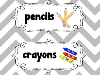 Custom Gray Labels {Cute Chunky Chevron }