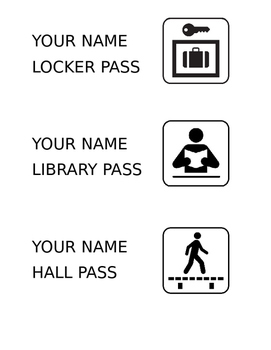 Custom Hall, Locker, and Library Passes