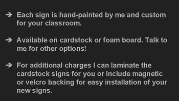 Custom Hand-Painted Classroom Signs