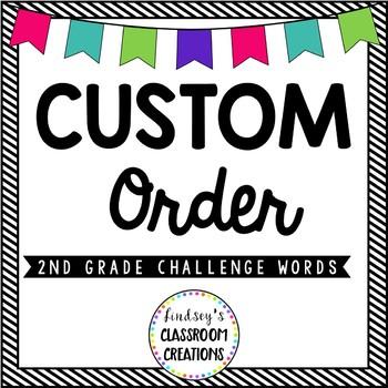Custom Listing - 2nd Grade Challenge Words for J.P.