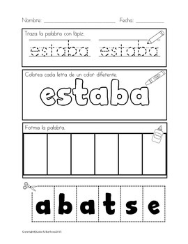 Custom Listing {Add-On to Trace, Color, Build High Frequency Words in Spanish}