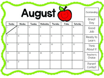 Custom Made Behavior Chart Monthly Calendars 2015-2016
