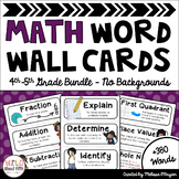 Math Word Wall 4th-5th Grade BUNDLE - Editable - No Backgrounds