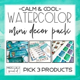 Custom Mini Classroom Decor Pack {Calm & Cool Watercolor}