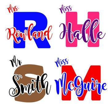 Custom Monogram Teacher Name Decal DIY Projects