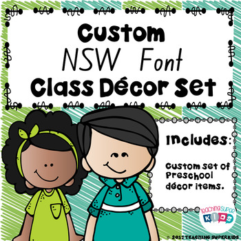 Custom NSW Font Lime and Teal Class Decor