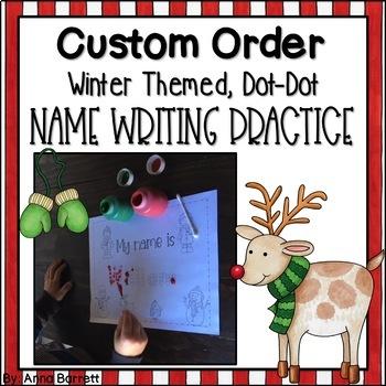 Custom Name Practice (Winter-Themed Dot Dot Writing)