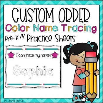 Customized Name Writing Practice (Color Tracing)