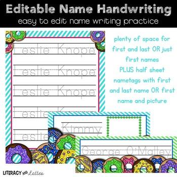 Editable Name Writing Practice {Donut Edition}