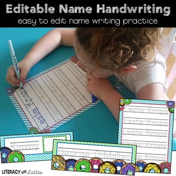 Custom Name Writing Practice {Donut Edition}