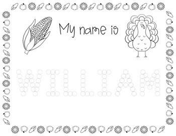 Custom Name Writing Practice (Thanksgiving Dot Dot)