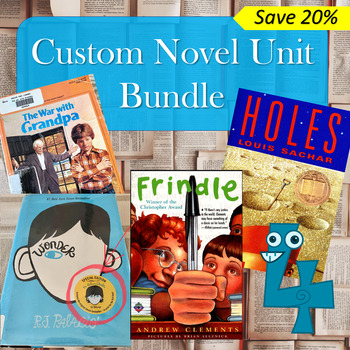 Custom Novel Bundle: War with Grandpa, Wonder, Frindle & Holes