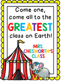 Custom Order Classroom Circus Sign