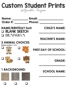 Custom Order- Custom Event Prints (Student, Baby, Pet)