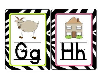 Custom Order: Zebra Alphabet Cards Lined Font with Vowels a different color