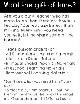 Custom Order for Teaching Resources