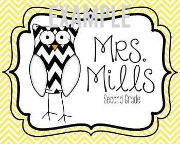 Custom Owl Teacher Sign (Classroom Decor)