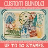 Custom Passport Stamp Bundle - 10 Stamps
