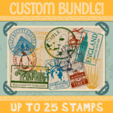Custom Passport Stamp Bundle - 20 Stamps