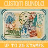 Custom Passport Stamp Bundle - 25 Stamps