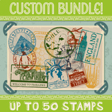 Custom Passport Stamp Bundle - 40 Stamps