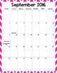 Custom Planner Monthly Calendars: 2016-17 School Year