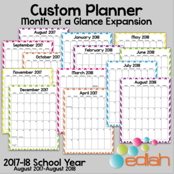 Custom Planner Monthly Calendars: 2017-18 School Year