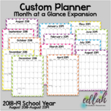 Custom Planner Monthly Calendars: 2018-19 School Year