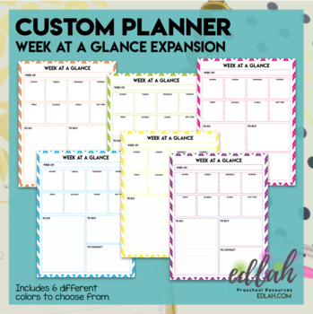 image about Week at a Glance Planner called Customized Planner 7 days at a Glimpse