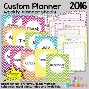 Custom Planner Weekly Planner Sheets 2016