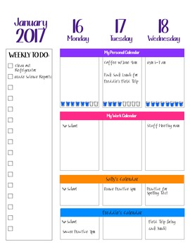 Custom Planner Weekly Schedule Sheets 2017