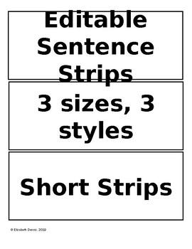 Custom Pocket Chart Printable *SHORT* Sentence Strips - Editable Templates