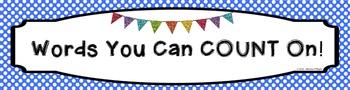 Custom Product Math Word Wall Banner - Blue Polka Dots