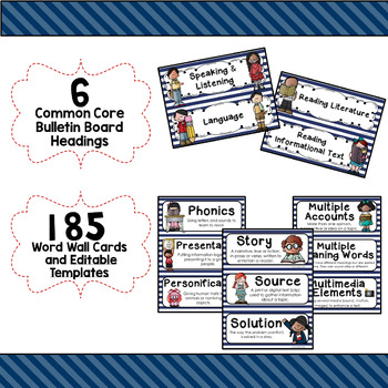 ELA Word Wall Vocabulary Cards - 5th Grade - Navy & White Striped