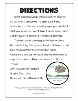 Custom Spelling Homework Newsletter with Dictionary Practice