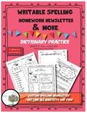 Custom Spelling Homework Newsletter with Dictionary Practice