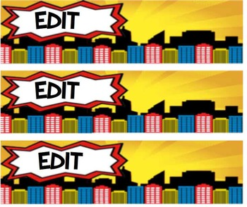Custom Superhero City Scape Bin Labels