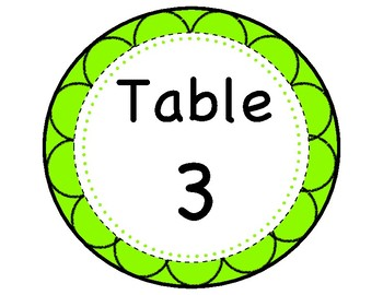 Custom Table Signs (Pink, Orange, Lime Green and Teal)